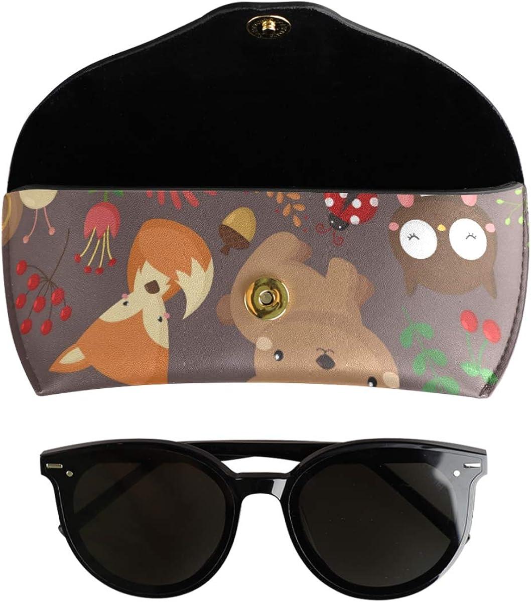 Multiuse Portable Cute Cartoon Animal Woodland Goggles Bag PU Leather Sunglasses Case Eyeglasses Pouch present