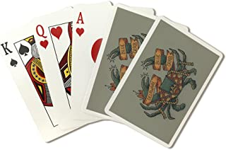 Delaware - Crab Tattoo Design (Playing Card Deck - 52 Card Poker Size with Jokers)
