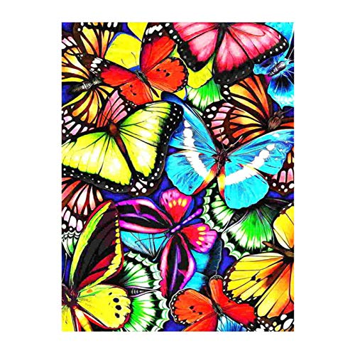 Fesjoy Diamond Painting Kit,5D Diamond Painting Kit Charming Butterfly DIY Arts Craft Gift for Full Drill Diamond Painting Embroidery Cross Stitch for Home Room Wall Decor