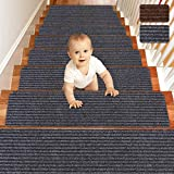 Matahum Non Slip Stair Treads Carpet, Treads for Wood Stairs Set of 15, Safety Slip Resistant for Kids, Elders, and Dogs, 8' X 30', Gray