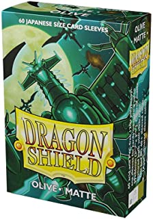 Arcane Tinmen Dragon Shield Sleeves - Matte Japanese Olive 60 CT - Card Sleeves - Compatible with Yugioh, Naruto and Other...