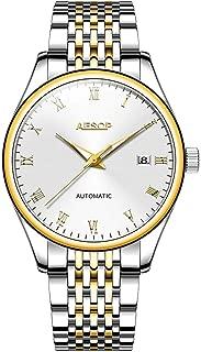 Aesop Fashion Men Date Analog Automatic Self Winding Mechanical Wrist Watch with Steel Band Luminous Silver Gold White