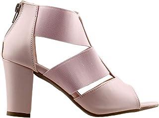 Ayakland 811-50 Günlük 7 Cm Topuk Bayan Cilt Sandalet Ayakkabı Pudra