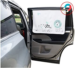 ggomaART Car Side Window Sun Shade - Universal Reversible Magnetic Curtain for Baby and Kids with Sun Protection Block Damage from Direct Bright Sunlight, Heat, and UV Rays - 1 Piece of Lion