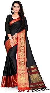 Cotton Art Silk Peacock Printed Black and Red Indian Wedding Bollywood Saree for Women