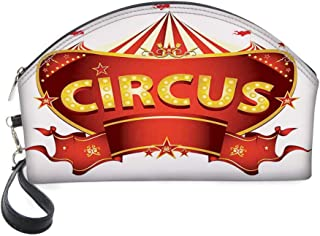 Half Moon Cosmetic Beauty Bag,A Circus Sign Baroque Style Big Top Enjoyment Theme Marquee Nightlife Retro for Women & Girls School Travel Office