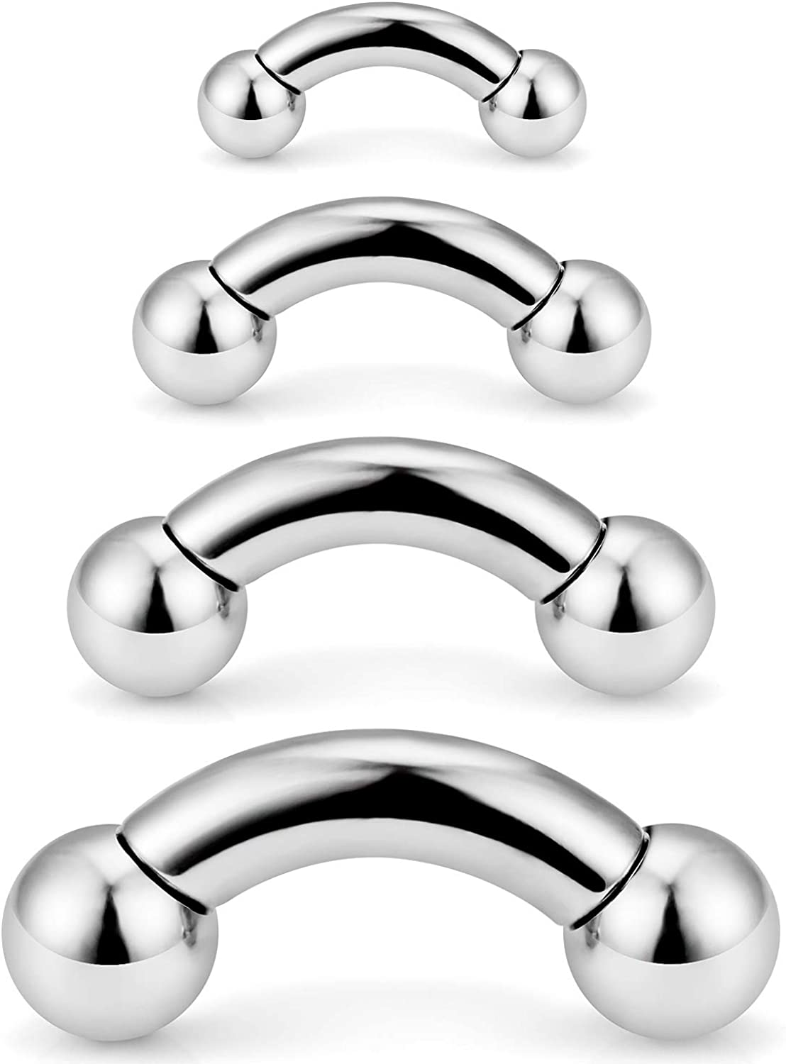 SCERRING 2-4PCS PA Ring Bent Curved Barbell Internally Threaded Monster Screwball Rings 316L Surgical Steel Body Piercing Jewelry 2G 4G 6G 8G