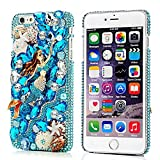 Mavis's Diary iPhone 6s Plus Case, iPhone 6 Plus Case 3D Handmade Bling Crystal Luxury Blue Mermaid Design Shiny Bling Sparkly Diamond Rhinestone Hard Cover Clear Case - Blue Mermaid