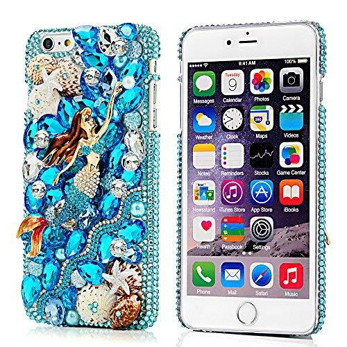 Mavis's Diary iPhone 6s Plus Case, iPhone 6 Plus Case 3D Handmade Bling Crystal Luxury Blue Mermaid Design Shiny Bling Sparkly Diamond Rhinestone Hard Cover Clear Case - Blue Mermaid