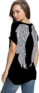 FV RELAY Womens Summer Fashion Angel Wing Loose Tops Short Sleeve T-Shirt Tee