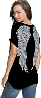 Womens Summer Fashion Angel Wing Loose Tops Short Sleeve T-Shirt Tee