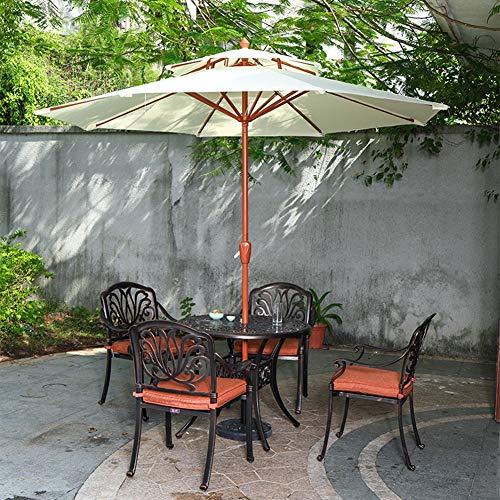 ZAQI Parasol Deporte Jardin Plage Balcon Parapluie de Jardin Robuste, 270 Cm (9 Pi) Parasols de Jardin Beige avec Manivelle et Évent, Couleur Grain de Bois (Size : Without Base)