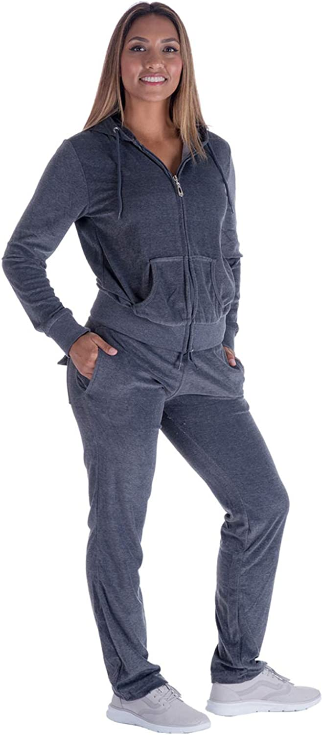 Womens Velour Tracksuit Set Knitted Two Piece Outfits Fashion Zip Up Hoody Sweatshirt and Sweatpants Sweat Suits Sets