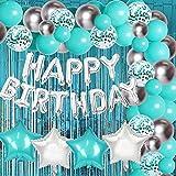 Juego de decoraciones de cumpleaños azul Verde Azulado con pancarta de globos de feliz cumpleaños Cortina de globos azul Turquesa y plateado para Verde Azulado 30 ° 40 ° 50 ° cumpleaños Baby Shower