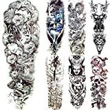 Flower Bloom Tatuajes Temporales Tiger Face Beastmaster Hombres Body Art Drawing Tattoos Stickers Mujeres Tatuajes Impermeables Brazo Completo