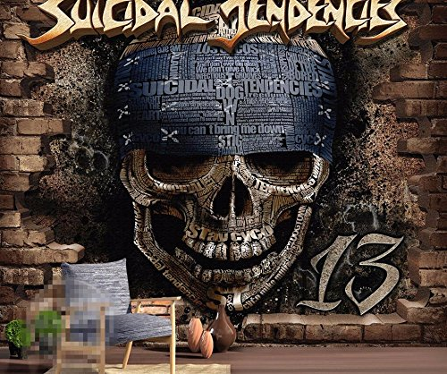 Yosot Benutzerdefinierte Tapete Retro Art 3D-Brick Wall Skull Head Rock Fresco Bar Ktv Cafe Home Furnishings Wandbild 3D Tapete-200Cmx140Cm