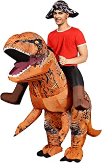 Inflatable Dinosaur Fancy Dress for Adult | Halloween Costume | Blow Up Costume Brown