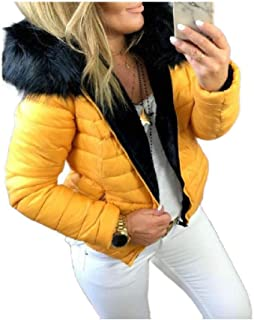 neveraway Women Fur Collar Warm Short Pure Color Plus-Size Hood Parka Jacket