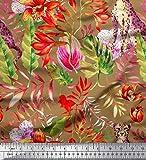 Soimoi Braune Seide Stoff Blätter, Floral & Leopard