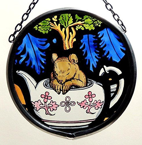 Decorative Hand Painted Stained Glass Window Sun Catcher/Roundel in an Alice in Wonderland and Dormouse Design. by Winged Heart presented by Celtic Glass Designs