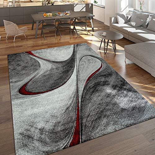 Paco Home Moderner Kurzflor Teppich Wohnzimmer Meliert Abstraktes Design Grau Rot Schwarz, Grösse:200x290 cm