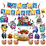 Among Us Party Supplies - Among Us Birthday Party Decoraciones Banner de feliz cumpleaños, globo, espiral, adorno para tarta para Among Us Theme Party Favor Set de suministros