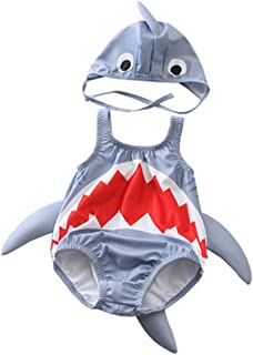 Baby Boys Girls 3D Cartoon Shark Rash Guard Swimsuit Bathing Suit with Hat