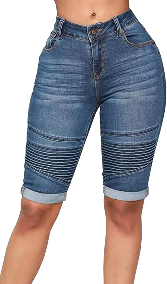 MOUTEN Womens High Waist Moto Biker Stretchy Ruched Bodycon Casual Bermuda Denim Shorts Jeans