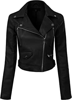 Women's Long Sleeve Zipper Closure Moto Biker Faux Leather Jacket