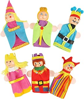 M&J Clown Wizard Princess King Queen Finger Toy Puppets Royal Family Members Hand Puppet Set Educational Toys Best Gift for Kids Set of 6 (Clown)