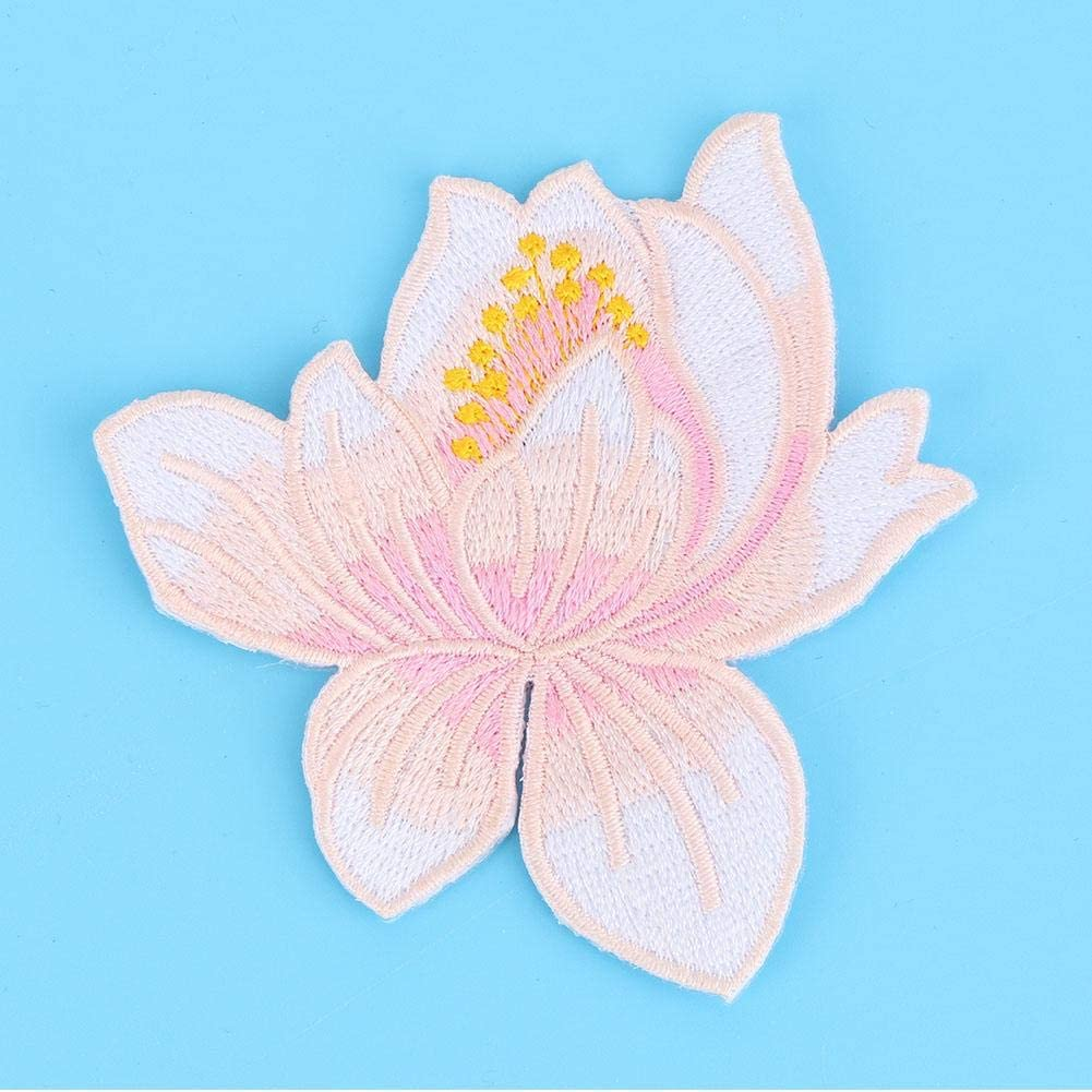 9# DIY Decor Sewing Embroidered Patch Clothes Ironing Decoration Patch Applique Craft Accessories for Cheongsam T-Shirt Jeans Clothing Bags Lotus Shape Cloth Stickers