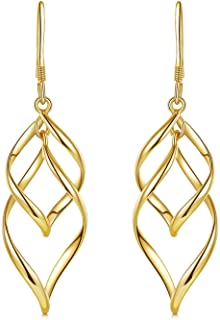 DESIMTION 14K Gold Plated Classic Twist Wave Sterling Silver Post Dangle Earrings for Women Girls
