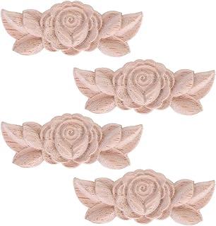 Healifty 4 Piezas de Madera Floral Tallada Apliques Onlay Apliques Onlay Esquina Artesanía Muebles sin Pintar Decoración Del Hogar