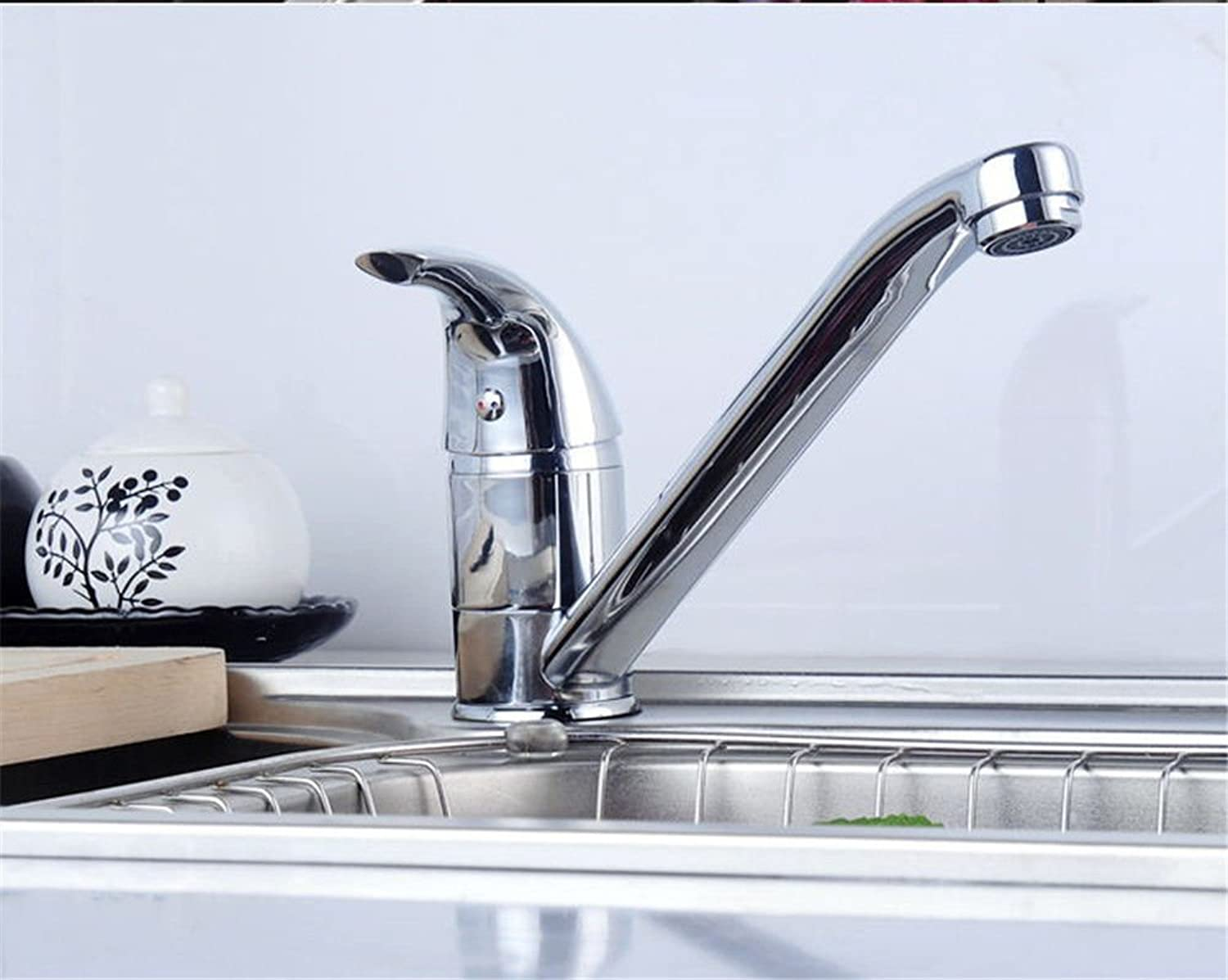Commercial Kitchen Sink Faucet Brass Copper Kitchen Faucet redating Double-Type Hot and Cold Water Mixing Valve Kitchen Sink Faucet Modern Plating Water-Saving Environmental Predection Faucet