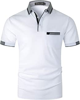 GHYUGR Polo Homme Manches Courtes T-Shirt Sport Casual 100% Coton S-2XL