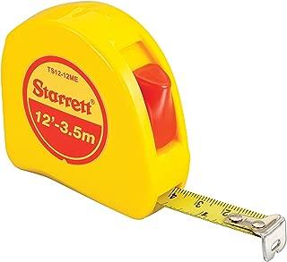 Starrett KTS12-12ME-N ABS Plastic Case Yellow Measuring Pocket Tape, English/Metric Graduation Style, 12' (3.5m) Length, 0.5