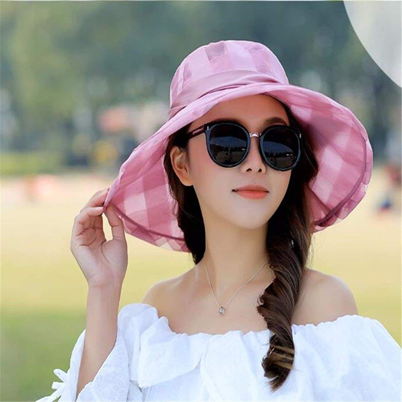 Beach Hat Women Hat Summer Fall Foldable Visor Wide-Brimmed Hat Sun Hat Sun Hat Outdoor Beach Hat Summer Sun Hat (color   Pink)