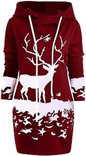 haoricu Women's Christmas Passion Pullover Ladies Long Sleeve Drawstring Solid Color Hoodies Tunic Sweatshirt