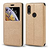 BQ Aquaris X2 Case, Wood Grain Leather Case with Card