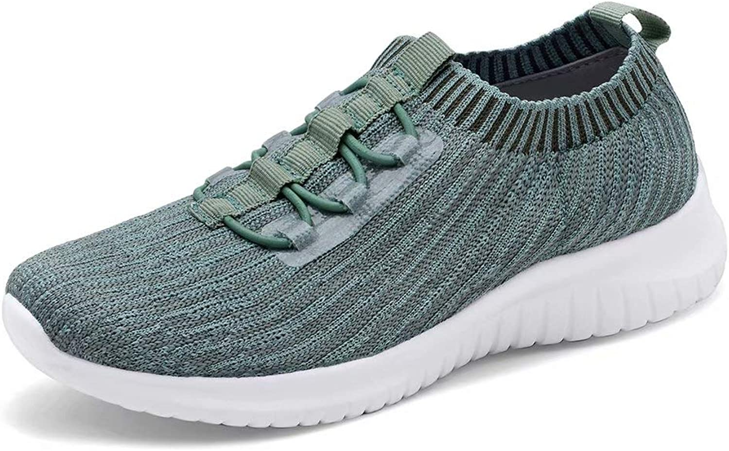 Konhill Women's Lightweight Athletic Running shoes Walking Casual Knit Workout Sneakers, Green, 37