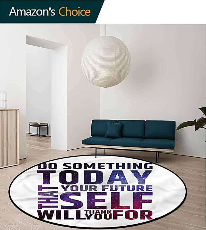 RUGSMAT Inspirational Modern Machine Washable Round Bath Mat Self Will Quote For Home Decor Bedroom Kitchen Etc Diameter 59