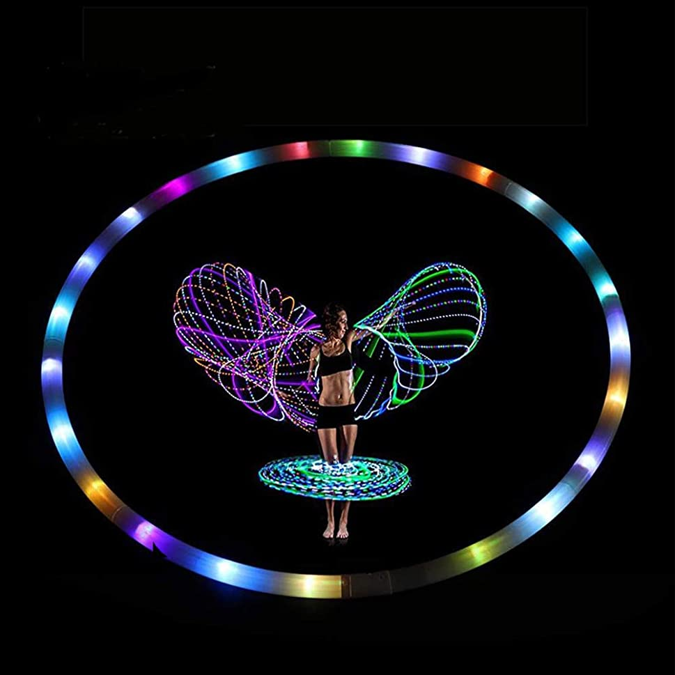 ただ竜巻シリングMingna LED フラフープ ダンス & フィットネス グロウ ウエイト ライトアップ フーラ フープ 大人用 8セクション 取り外し可能デザイン ポータブル フラフープ 36インチ (電池は含まれていません)