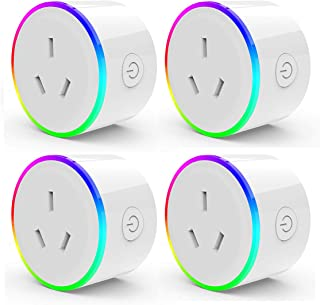 HomePro WIFI Smart Plug with RGB Light, Wireless Power Outlet Compatible with Amazon Alexa, Google Home Assistant, No Hub ...