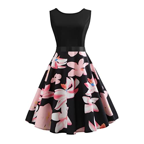 NEEDRA Dresses Women Retro Sleeveless O Neck Butterfly Musical Note Printed Evening Party Prom Swing Dress