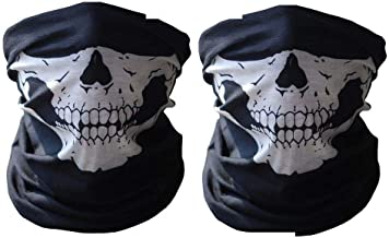 2 Pcs Motorcycle Face Skull Mask Half Face Motorbike Neck Headwear Outdoor Ski Skull Party Masks Sport Halloween Mask for Bike Motor Cycling