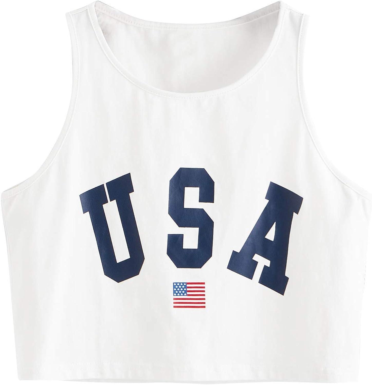 SweatyRocks Women's Casual Sleeveless Round Neck Workout Crop Tank Top Shirts