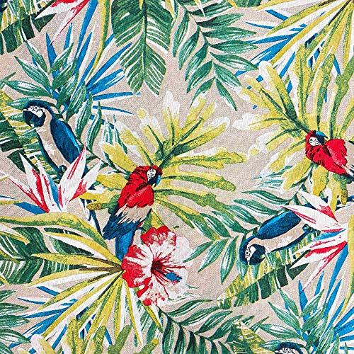 Kt KILOtela Tela de loneta Estampada - Retal de 100 cm Largo x 280 cm Ancho | Hojas Tropicales y Loros - Verde, Azul, Rojo ─ 1 Metro