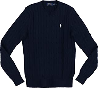 POLO RALPH LAUREN Womens Cable Knit Crew Neck Sweater (Medium, PRL Navy)
