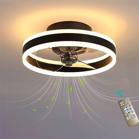 Plafonnier LED pour ventilateur de chambre à coucher avec télécommande réversible 6 vitesses Ventilateurs de plafond modernes avec lumières Silencieux 3 lames Dimmable 40cm Ventilateur, noir