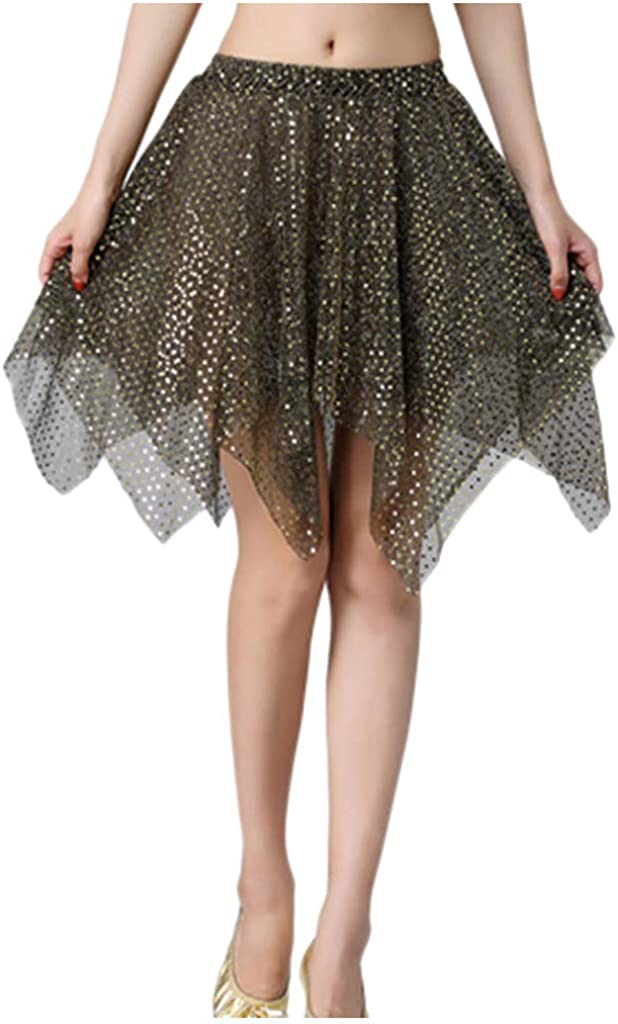 DXYDSC Women Casual Slit Wrap Asymmetrical Elastic Latin Belly Latin irregul Skirt